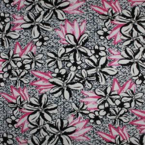 Printed Jersey i svart/hvitt og rosa