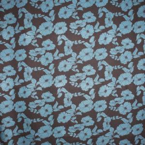 Printed jersey blå blomster på svart bunn