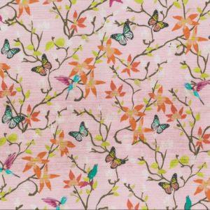 Fugler og sommerfugler bomull sateng