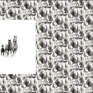 Panel med hester, hvit